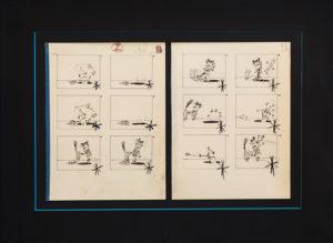 """Pino Pascali DALL'ARTE AGLI SHORT PUBBLICITARI Storyboart """"Postero's"""" China e grafite su cartone (dittico) - archivio Frittelli Arte"""" - 27x44 cm"""