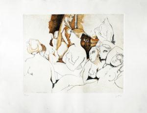 Renato Guttuso HOMMAGE A INGRES Incisione all'acquaforte 86x67 cm - 1992