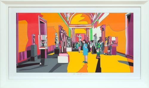 Ugo Nespolo MET MUSEUM Serigrafia con interventi in collage e passaggio in calcografia a secco 120x70 cm